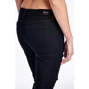Angry Rabbit Womens Color Dye w/ Destroyed Skinny Designers Premium Demin Jeans Made in USA-25,Black