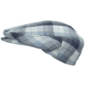 Headchange Made in USA 100% Linen Ivy Scally Summer Golf Hat Flat Cap (MEDIUM = 7 - 7 1/8, Blue Plaid)