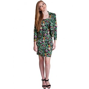 Ladies Green Floral Print 2 Button Blazer Dress Suit Set