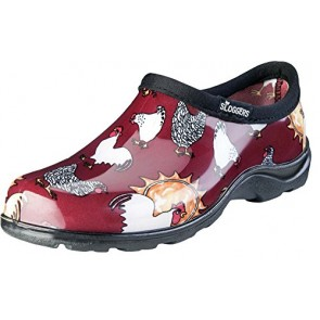 Sloggers 5116CBR06 Chicken Print Collection Women's Rain & Garden Shoe, Size 6, Barn Red