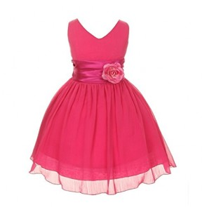 Chiffon Double V Neck Wedding Flower Girl Dress, Made in USA (6, fucshia)