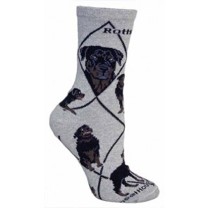 Rottweiler on Gray Ultra Lightweight Cotton Crew Socks (One Size Fits Most) Made in USA