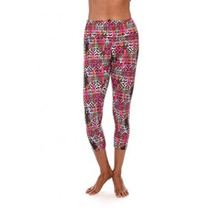 American Fitness Couture Womens Bold Print Fold-Over High Waist Capri Length Yoga Legging Pink/Or XS