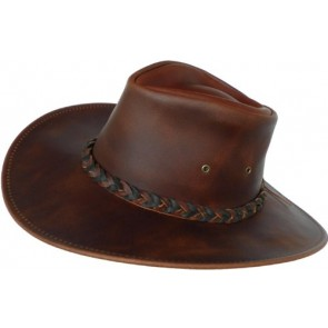 Headchange Made in USA Leather Walker Outback Aussie River Hat