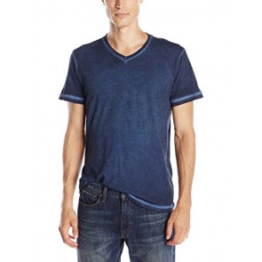 VELVET BY GRAHAM & SPENCER Men's Richie Antique Wash V-Neck T-Shirt, Midnight, Medium