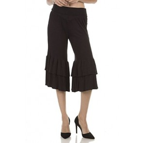 Ever77 Women's Cropped Waist Band Bell Ruffle Capri Pants/Made in USA/TP1024DE-Black,S
