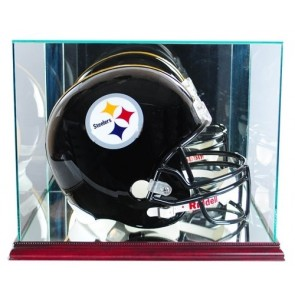 Full Size Football Helmet Display Case - Glass Top with Cherry Base - Made In America - With 50% UV
