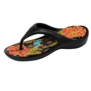 Sloggers 304BK06 Womens Thong Sandal, Black, Size 6