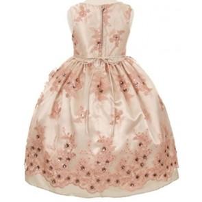 AkiDress Shiny Satin Embroidered Overlay Flower Girl Dress for Little Girl Black 10
