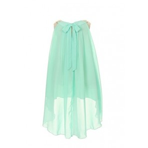 Chiffon Clooney Lace Hi-low Wedding Flower Girl Dress, Made in USA (6, Aqua)