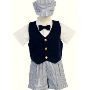 # 9-G821N- M –Seersucker Outfit w/Navy Vest- Blue Stripe Shorts and Hat - Shirt and Tie - Made in USA