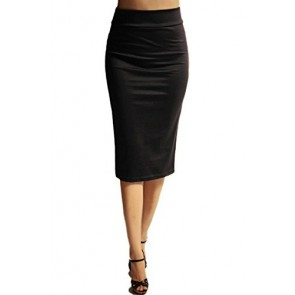Azules Women's below the Knee Pencil Skirt - Made in USA (Black, S)