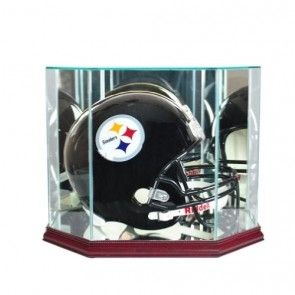 Full Size Football Helmet Display Case - Glass Top with Octagon Cherry Base - Made In America - Wit