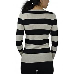 Alfa Global Women's Long Sleeve V-Neck Striped Soft Knit Sweater Black/Beige S