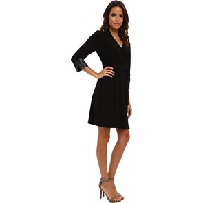 Marc New York by Andrew Marc Women's 3/4 Sleeve Tie Waist Wrap Sheath Dress MD4A8854 Black Dress XS (US 0-2)