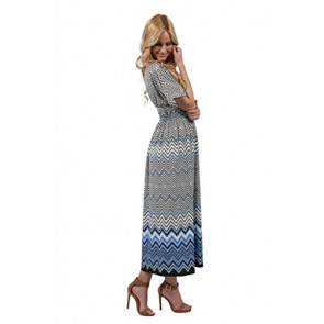 Ingear 3/4 Sleeve V Neck Overlap Front Maxi Dress Blue-Small