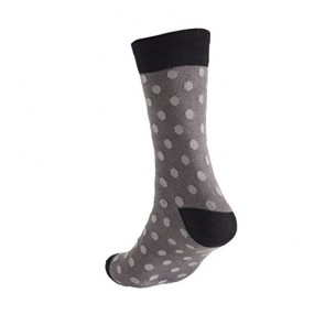 Made in USA Men's Dress Socks -Dark Grey with Light Grey Polka Dot fits 7.5-12