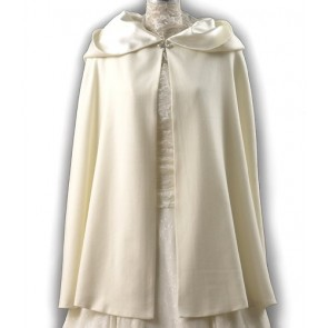 Ivory Wool Short Cloak for Winter Weddings, Made in USA