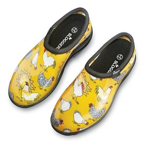 Yellow Chicken Sloggers Waterproof Garden Shoes, Yellow Chickens, 6 - Made in the USA