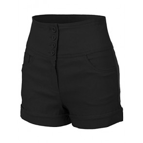 RubyK Womens High Waisted Sailor Shorts with Stretch