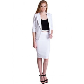 Ladies White One Button Cuffed Blazer & Pencil Skirt With Belt Set