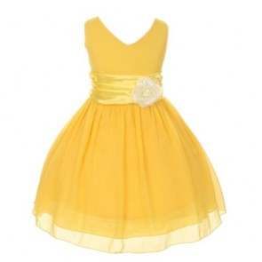 Chiffon Double V Neck Wedding Flower Girl Dress, Made in USA (10, yellow)