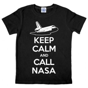 Hank Player 'Keep Calm & Call NASA' Kid's T-Shirt (10, Black)