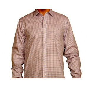 J Wingfield Harrison Tattersall Red or Royal Spread- Mens Woven Dress Shirt, Small