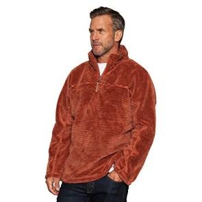 True Grit Luxe Fleece Stripe 1/2 Zip Pullover (Spice,XS)