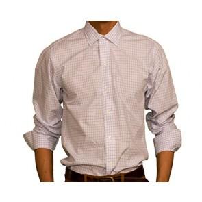 J Wingfield Men's Kent Traditional Dress Check Red/Blue Spread - Dress Shirt