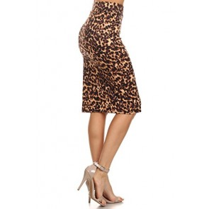 Azule Women's Below the Knee Pencil Skirt for Office Wear - Made in USA,Animal Print,Small