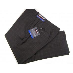 Kirkland Signature Men's 100% Wool Flat Front Dress Pants (32x34, Black/Charcoal Herringbone)