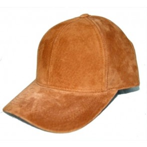 Suede leather baseball cap hat, one size fit - made in USA Color: Camel