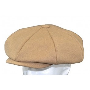 Emstate Mens Melton Wool 8 Panel Applejack Newsboy Cap Made in USA Various Colors (Black)