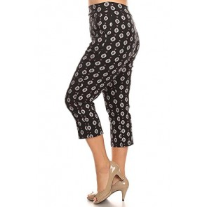 Women's Stretch Millennium Slim Style Crop Pants PLUS. MADE IN USA (1X-Large, Print-Black)