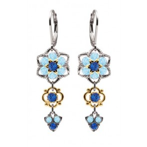 European Inspired Lucia Costin Dangle Flower Earrings Made of .925 Sterling Silver with Blue, Light Blue Swarovski Crystals, 24K Yellow Gold over .925 Sterling Silver 4 Petal Flowers and Twisted Lines; Handmade in USA