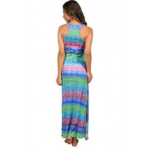 Ingear Long Tie Dye Racerback Maxi Dress (Small, GBL3)