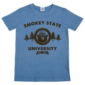 Hank Player 'Smokey Bear State University' Kid's T-Shirt (8, Vintage Slate Blue)