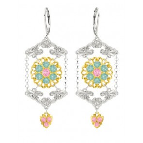 European Style Chandelier Earrings by Lucia Costin Made of .925 Sterling Silver with 24K Yellow Gold over .925 Sterling Silver with Light Pink, Mint Blue Swarovski Crystals and Fancy Details; Handmade in USA
