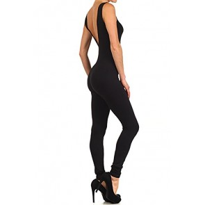 World of Leggings Made in the USA Basic Cotton Jumpsuit Black Small