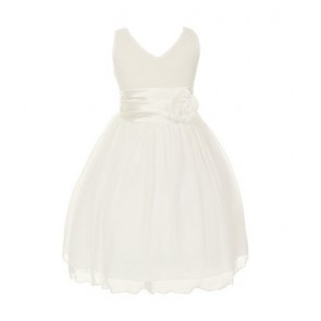 Chiffon Double V Neck Wedding Flower Girl Dress, Made in USA (6, white)