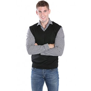 Andrew Rohan Men's Acrylic V-Neck Sweater Vest, Black, Medium