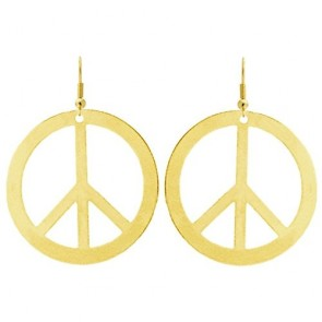 "2"" Peace Sign Stamping Earrings, Ours Alone! Made in USA!, Earrings in Gold Tone"